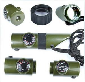 New 7 em 1 Mini SOS Survival Kit Camping Survival Whistle Com Bússola Termômetro Lanterna Magnifier Tools Outdoor Gadgets ZZA1167-2