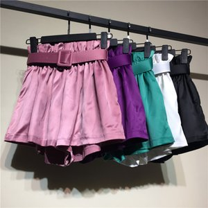 Neue Frauen-Weinlese dünne Schärpen Thin Wide Leg Short Rayon Satin Licht Glänzend Sommer ShortsElastic Taille lose Shorts weiblich