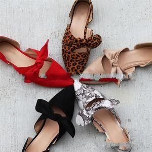 Конец туфли с острым носом Женский леопардовый принт Flattie Bowknot Shoe Большой размер резиновый материал износостойкий красный 34ht C1