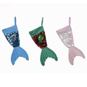 Bling Boncuk Ayaklı Kuyruk Çorap Noel Ev Dekorasyonu 3 Renkler 16inch XD21919 Bling Christams Süsleri Denizkızı Christams Çorap Hediye Paketi Çanta