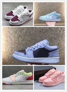 1 слой с низкой фиолетовой линией Jumpman 1 Mint Green Баскетбольные кроссовки Спортивные кроссовки кроссовки для женщин 1 Low Court Purple UNC Wit