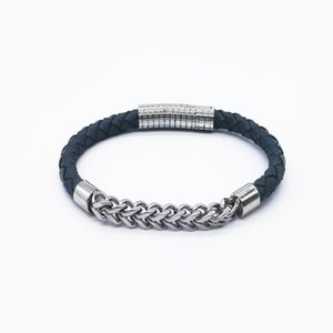 Leather Fashion design Bracelet Stainless Chain Clasp Mens Womens European American Style Black Red Grey Natural