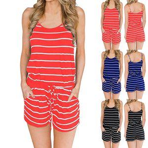 MIARHB 패션 여성 여름 꽃 줄무늬 민소매 V - 넥 보우 매듭 점프업 Playsuit combinaison femme Body Suit Tops # 4M14