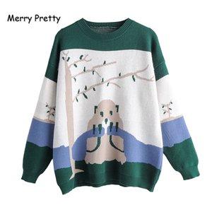 Cartoon ricamo verdi Maglione fatto a maglia 2019 inverno caldo di spessore dal O-Collo jacquard pullover Merry Pretty women
