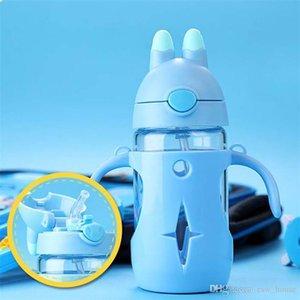 Bebê Duplas Garrafa PP bebê Vidro preservação do calor Duplas Garrafa Tape Calibração Straw Feeding Bottle Cup água Com Handle