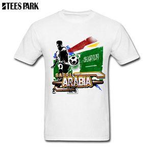 Мода Top хлопчатобумажных Tee Saudi Arabia Flag Soccers Футболист Boyfriend рубашка подарки Смешной тройники хлопок с коротким рукавом