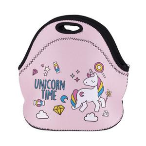 يونيكورن حقيبة الغداء الحرارية معزول 3d طباعة أكياس الرموز التعبيرية للماء حقيبة الغداء مربع الغذاء نزهة حقيبة للمرأة كيد برودة العزل التخزين