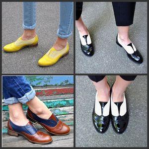 Fond plat Chaussures simples Chaussures en cuir Cusp Épissage Bottes courtes Femmes Confortable Douces Couleurs Mélanger Grand Code Mode 33jtf1