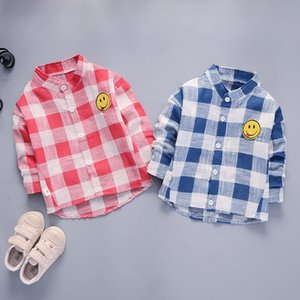 2018 Autumn And Winter New Style Men And Women Children Lapel Shirt Tops Plaid Smiley Pure Cotton Coat