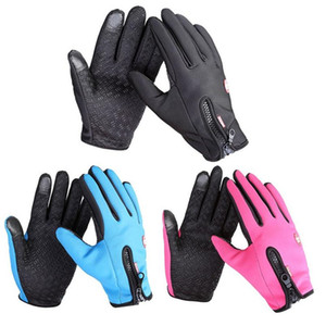 Велоспорт Windstopers Перчатки Антипробуксовочная ветрозащитный Тепловое Теплые перчатки Touchscreen дышащий тактико Зима Мужчины Женщины Black Zipper перчатки