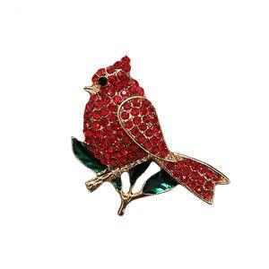 El envío libre 20pcs / lot El cristal rojo cardenal diamantes de imitación de cristal Animal Pájaro broche para el regalo del día de San Valentín