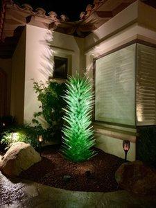 Mão Personalizado Escultura de vidro soprado Indoor Decoração verde da arte Art Glass Floor Lamp Luxo Escultura Flower Trees