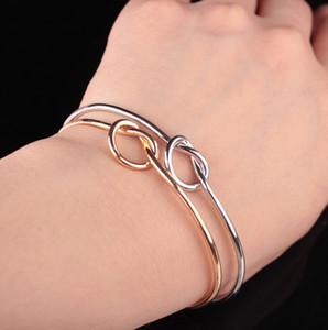 Tone atacado- Copper expansível Abrir fio Bangles Por amor nó pulseiras Bangle para crianças e adultos