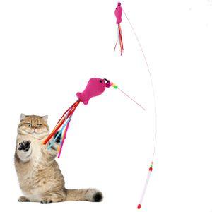 لعبة 1PC القطة الأليفة لعبة عصا اللعب السمك تصميم دعابة التدريب العصا عصا بلاستيكية الخيط للقطط هريرة الحيوانات الأليفة القط المنتجات