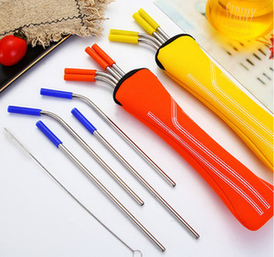 Ready to Ship! 304 stainless steel straw combination food-grade scratch-resistant milk tea beverage straw set in stock