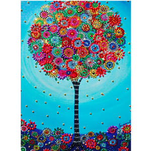 DIY 5D Shaped Diamond Painting Cartoon Landscape Tree 3D Picture Special Crystal Diamond Embroidered Child Christmas Gift