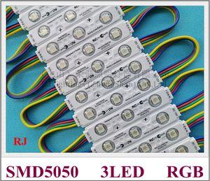 iniezione con modulo obiettivo RGB LED SMD 5050 modulo di illuminazione a LED impermeabile per il segno lettera RGB DC12V 0.72W 3 led IP66 75 millimetri * 15mm * 5mm