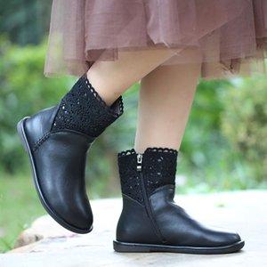 2020 otoño e invierno nuevas botas de las mujeres de cuero de VALLU mujeres hechas a mano felpa corta