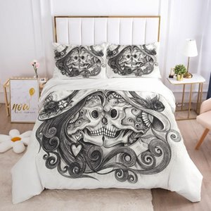 3D Skull Custom Bedding Sets Pencil Draw White Duvet Quilt Cover Set Bed Linens King Queen Full Double Twin Size Bedsheet