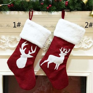 Elk Christmas Stockings Gift Bag Holder Árbol de Navidad Adornos colgantes con felpa Piel sintética Decoración de fiesta de Navidad Suministros