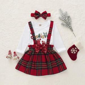 Trajes de Navidad niñas cartas que suben las tapas + de las lentejuelas arco de la tela escocesa de la honda de la tela escocesa del turbante de 3 piezas Juego de Niños M771
