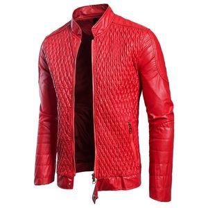 Luxus PU-Leder Stoff neue Herrenleder Features beliebte Maschenform Herbst neue europäische und amerikanische europäische Code-Jacke Größe Leat