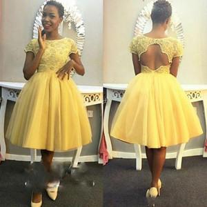 Скромный желтый чай длина выпускного вечера Homecoming платья с коротким рукавом кружева замочную скважину назад для чернокожих женщин тюль бальные платья вечерние платья
