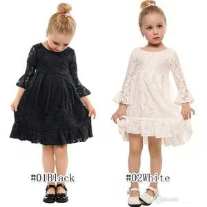 INS Горячая весна осень Gilrs цветочные кружева платья принцесс 2 цвета 3-12y ребенок девушки платья партии малышей дизайнер одежды девочки JY05