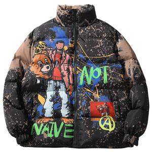 Chaqueta Parka Hip Hop pintada de la historieta Streetwear hombres rompevientos Harajuku invierno acolchada chaqueta de la capa Puffer Outwear la vendimia