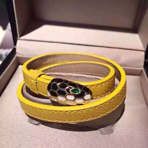 جودة عالية الكلاسيكية التيتانيوم الصلب والمجوهرات الأزياء دائرة مزدوجة اللون بو ثعبان رئيس انخفاض سوار سوار النفط