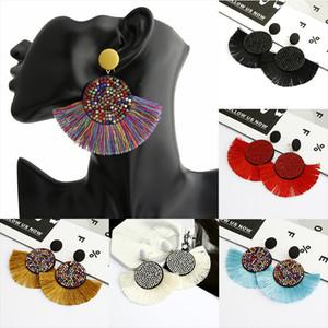 Mulheres de cristal em forma de leque Tassel Dangle Brincos Para Vintage Ethnic Bohemian longo Big Declaração franja Brinco Pendente Boho JEWE