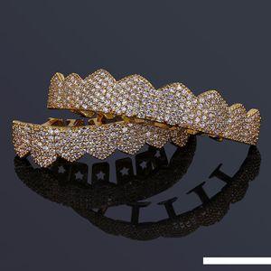 Grillz joyería de lujo exquisito Bling circón Micro pavimentada Dental Parrillas Moda rapero oro 18K plateó los dientes de Hip Hop Los apoyos