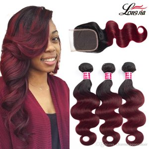 Ombre human hair bundles with closure 4*4 1b 99j body wave hair with closure 3 4 bundles Brazilian body wave human hair extension