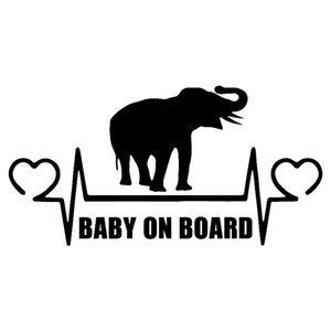 17.5*8.9CM BABY ON BOARD Elephant Lifeline Heartbeat Cartoon Car Sticker Personality Vinyl Decal Car Decor