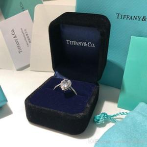 mulheres jóias prata 925 marca anel de diamantes de luxo Carbono Diamante de rasgo elevada forma de gota simples anel de casal caixa original Personalização