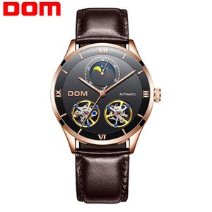 DOM Mechanical Watch Men Skeleton Watch Automatic Mechanical Mens Genuine Leather Watches Waterproof Self-winding Clock M-1270