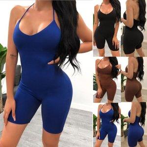 Trajes de yoga 2021 Mujeres de verano Bodycon Negro Playsuits Slim Fitted Tube Sólido Romper Halter Cuello Streetwear Pumpsuits