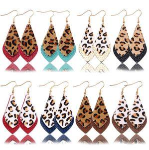 La stampa leopardo gocce orecchini Autunno Inverno Doppi strati di foglie in vera pelle orecchini di goccia per il regalo donne GD4