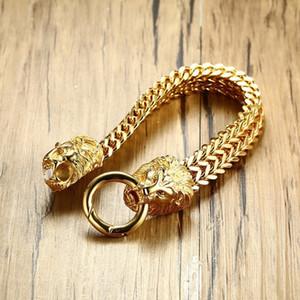 Moda de doble cabeza de león en espiga pulsera de cadena para los hombres oro del acero inoxidable del tono de Hip Hop punk joyería 22.5cm S625
