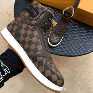 new High Quality Rivoli Sneakers Iconic Damier Graphite Canvas Mens Lusso Casual Shoes Printed Leather and Loop Xshfbcl Strap Sneakers