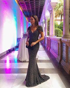 Dark Grey Mermaid Evening Dresses Deep V Neck Backless Short Sleeve Women Long Formal Prom Party Gowns vestidos de fiesta In Stock
