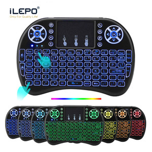 Teclado Multi Color retroiluminado RII i8 2.4G sem fio Teclados Mini Android TV Box Remote Control Air Mouse e teclado para Tablet PC TV inteligente