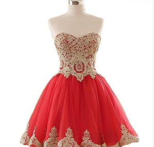 Cheap Sweetheart Appliques Short Prom Homecoming Dresses Plus Size Beaded Crystals Graduation Gown Cocktail Party Gown QC120