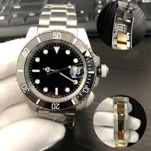 U1 автоматические механические керамические часы мужских часов Скоейся Застежки Все из нержавеющей стали 40 мм Сапфира плавательных супер яркие светящих часы
