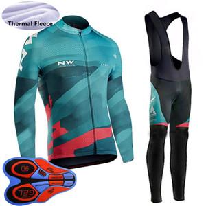 2020 NW Team Зимняя Термальная руно Велоспорт Одежда мужская Теплое MTB велосипед Эпикировка Открытый спорт равномерная езда Джерси Bib Pants Set Y121901