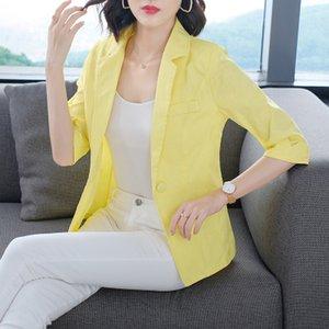 Женщины Blazer 2020 лето Корея хлопка и льна Пиджаки Желтый пальто Плюс Размер Тонкий Повседневный светло-зеленый Blazer Офис Coat Spring