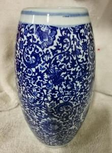 Chinese Jing dezhen Vase en porcelaine bleue et blanche