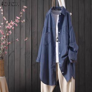 2019 ZANZEA Women's Denim Blue Blouse Ladies Casual Lapel Neck Shirt Plus Size Office Work Tops Cotton Linen Solid Tunic Blusas