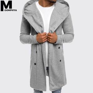 Moomphya 2019 Nouveau Streetwear style long hommes cagoulés hommes trench-coat veste coupe-vent de hip hop outwear hiver