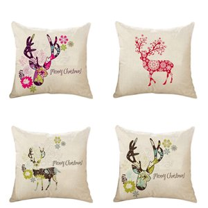 merry christmas pillow cases linen 18 X 18 inch pillowcase deer pillows cover for sofa home decorative pillowcase christmas cushion cover